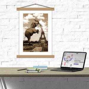 Креативний постер з паспарту - Слон і вежа