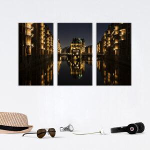 Модульная фотокартина на холсте Ночной город