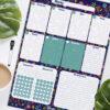 Настенный планер на неделю с трекером привычек Цветочек